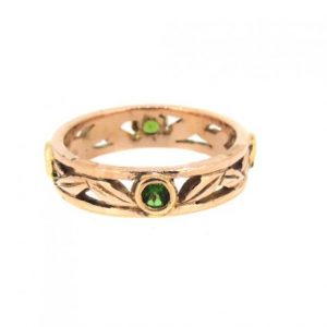 14ct red gold ring with tourmalines