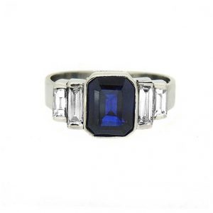 sapphire and diamond Art Deco style engagement ring