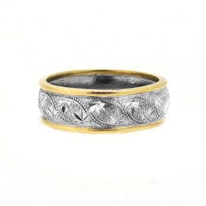 engraved 18ct white and yellow ring