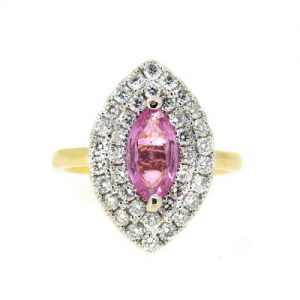 Pink Sapphire and diamond 18ct white gold ring  £4150.00