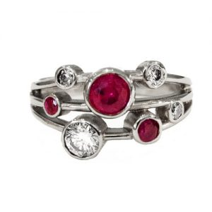 18ct white gold ring with rubies and diamonds £2950.00