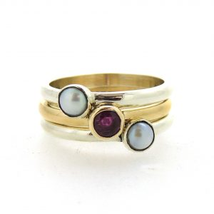 Stacking rings with ruby and pearl_edited-1