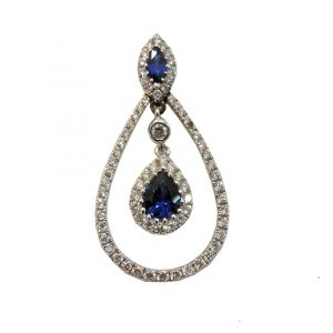 Teardrop sapphire and diamond pendan