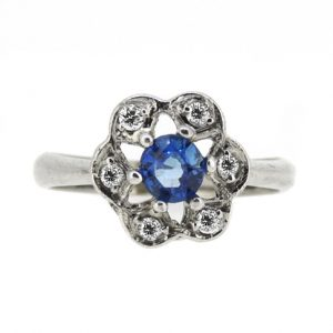 Sapphire and diamond vintage style ring