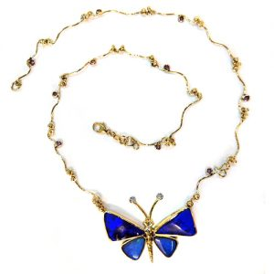 Black Opal butterfly in 18ct gold with diamonds and pink sapphires £4000.00