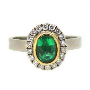 18ct gold ring with Emerald and diamonds ring £2500.00