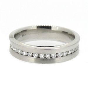 Platinum band with diamonds around the middle. £1900.00