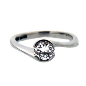 Diamond-solitaire engagement ring