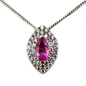 Pink Sapphire pendant in 18ct white gold        £3200.00