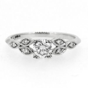 18ct vintage style platinum engagement ring.    £3200.