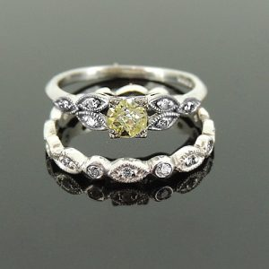 Champagne diamond engagement ring and wedding ring