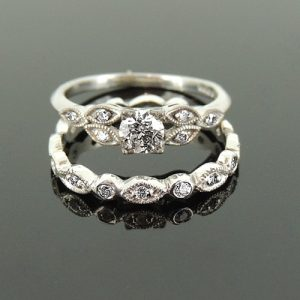 Vintage style engagement and wedding rings