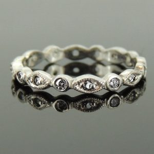 Vintage style wedding ring 18ct white gold  £1150.00