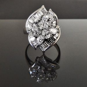 Large diamond cluster ring