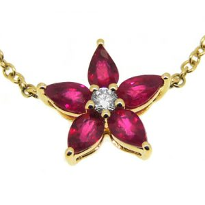 18ct Ruby and diamond necklace.       £960.00