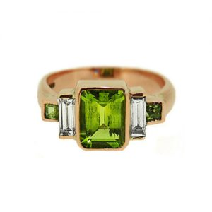 peridot and diamond engagement ring